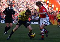 Photo: Olly Greenwood.<br />Charlton Athletic v Aston Villa. The Barclays Premiership. 25/02/2006. Aston Villa's James Milner (L) tries to go round Charlton's Jonathan Spector.