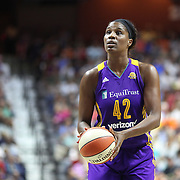 UNCASVILLE, CONNECTICUT- JULY 15: Jantel Lavender #42 of the Los Angeles Sparks shoots a free throw during the Los Angeles Sparks Vs Connecticut Sun, WNBA regular season game at Mohegan Sun Arena on July 15, 2016 in Uncasville, Connecticut. (Photo by Tim Clayton/Corbis via Getty Images)