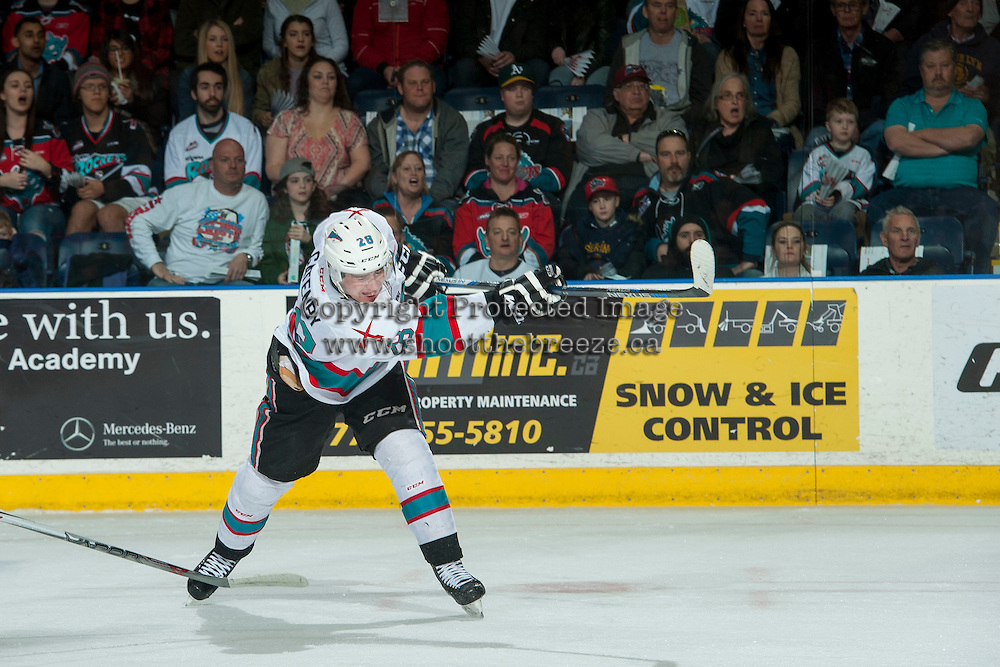 KELOWNA, CANADA - MARCH 26: Joe Gatenby #28 of Kelowna Rockets takes a shot on net against the Kamloops Blazers on March 26, 2016 at Prospera Place in Kelowna, British Columbia, Canada.  (Photo by Marissa Baecker/Shoot the Breeze)  *** Local Caption *** Joe Gatenby;