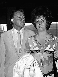 File dated 28/7/1967 of Welsh actor Richard Burton and his actress wife, Elizabeth Taylor at London's Heathrow airport before departing for Sicily.