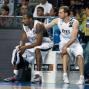 Efes Pilsen's Bootsy THORNTON (L) and Sinan GULER (R) during their Turkish Basketball league derby match Efes Pilsen between Fenerbahce Ulker at the Sinan Erdem Arena in Istanbul Turkey on Sunday 24 April 2011. Photo by TURKPIX