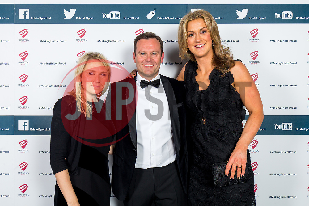 Georgina Fell, Mark Ashton and Isobel Mitchell look on as Bristol Sport hosts their annual Gala Dinner at Ashton Gate Stadium - Rogan/JMP - 14/12/2017 - SPORT - Ashton Gate Stadium - Bristol, England - Bristol Sport Gala Dinner 2017.