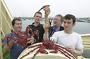 Four unusual fish from the deep were brought ashore by The Dingle fishing boat The Emerald Dawn on Monday morning. Our picture show marine Officer kevin Flannery, 2nd from right eaming the the species with fishermen from left, Richard Sheehy with a Neothoidas Crab, Patrick Lawlor with a Tripod Fish and Alex Kniazev with a gruper eel which were caught three miles deep in water 160 miles west of Ireland.<br /> Picture by Don MacMonagle