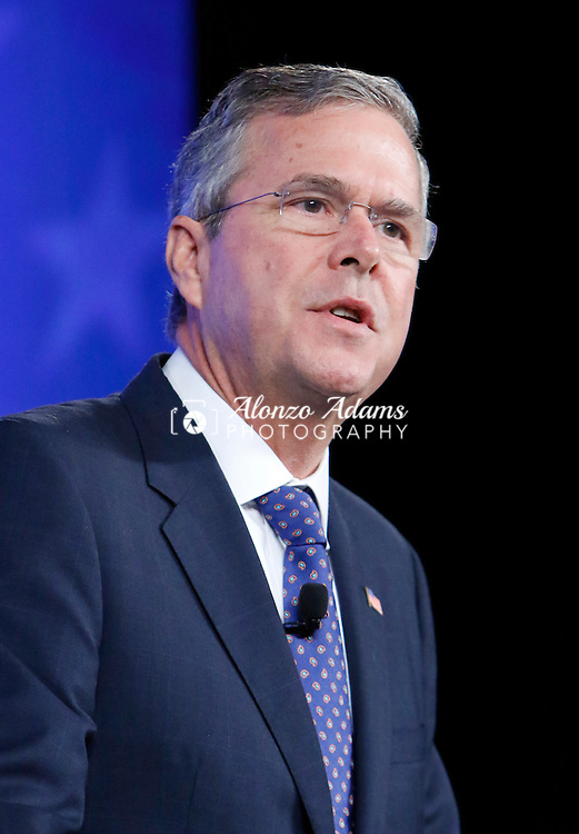 Former Florida Governor Jeb Bush speaks at the Southern Republican Leadership Conference in Oklahoma City, on Friday, May 22, 2015. (AP Photo/Alonzo Adams)