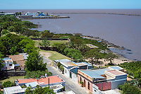 Aerial view of Colonia del Sacramento and the Rio de la Plata River in Uruguay.