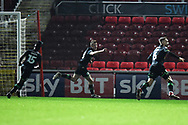 Goal - Alex Fisher (18) of Yeovil Town celebrates scoring a goal to make the score 2-2 during the EFL Sky Bet League 2 match between Swindon Town and Yeovil Town at the County Ground, Swindon, England on 10 April 2018. Picture by Graham Hunt.