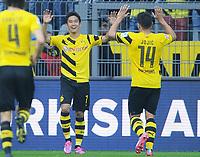 Fotball<br /> Tyskland<br /> 13.09.2014<br /> Foto: Witters/Digitalsport<br /> NORWAY ONLY<br /> <br /> 2:0 Jubel v.l. Torschuetze Shinji Kagawa, Milos Jojic (Dortmund)<br /> Fussball Bundesliga, Borussia Dortmund - SC Freiburg