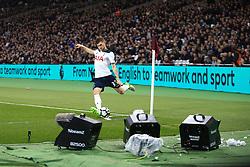 5 May 2017 - Premier League - West Ham v Tottenham Hotspur - Ben Davies of Tottenham Hotspur takes a corner kick against a foreground o the West Ham bubble machines - Photo: Marc Atkins / Offside.