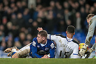 Ross Barkley (Everton) looks at the referee to see what the decision is - he awards a penalty during the Barclays Premier League match between Everton and Newcastle United at Goodison Park, Liverpool, England on 3 February 2016. Photo by Mark P Doherty.
