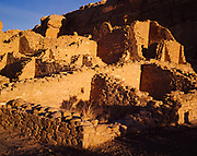 Kin Kletso (Yellow House) Ruins, first portion built around 1075 AD and  second portion built around 1125 AD, approximately 100 rooms, Chaco Culture National Historical Park, New Mexico.