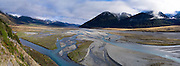 Panoramic view of the Waimakariri Valley and Polar Range, and overhanging clouds; New Zealand; June 2013