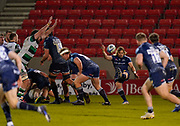 Sale Sharks scrum-half Faf De Klerk puts up a clearance kick  during a Gallagher Premiership Round 12 Rugby Union match, Friday, Mar 05, 2021, in Eccles, United Kingdom. (Steve Flynn/Image of Sport)