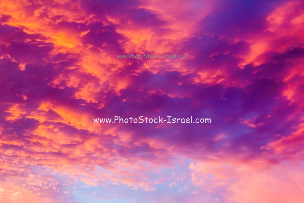 Dramatic red cloudscape at sunset. Photographed at Las Vegas Nevada