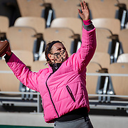 PARIS, FRANCE September 26. Victoria Azarenka of Belarus warms up throwing an American football before training on Court Philippe-Chatrier in preparation for the 2020 French Open Tennis Tournament at Roland Garros on September 26th 2020 in Paris, France. (Photo by Tim Clayton/Corbis via Getty Images)