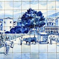 Europe, Portugal, Madeira, Funchal. Traditional Portuguese tiles on building facade.