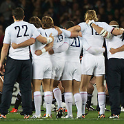 New Zealand captain Richie McCaw performs the haka with the New Zealand team as the fench players inch closer before the New Zealand V France Final at the IRB Rugby World Cup tournament, Eden Park, Auckland, New Zealand. 23rd October 2011. Photo Tim Clayton...