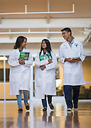 Jane Long Futures Academy students Bontu Workineh,  Kinza Rizwan and Estanislado Sandoval III pose for a photograph at the Houston Community College Coleman College for Health Sciences pharmacy technology labs, October 16, 2014.