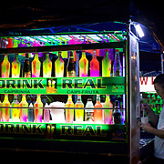 An open air cocktail bar in the Lapa Aquaduct area, Rio de Janeiro, a popular location on Friday and Saturday night and a cheaper alternative for revellers heading too and from the main bar and restaurant area in the Lapa district. Rio de Janeiro,  Brazil. 18th September 2010. Photo Tim Clayton