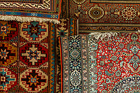 Carpets in the Arab Souk, Muslim Quarter, Old City, Jerusalem, Israel.