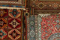Carpets in the Arab Souk, Muslim Quarter, Old City, Jerusalem, Israel.