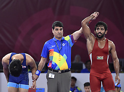 JAKARTA, Aug. 19, 2018  Bajrang Bajrang (R) of India wins the gold medal of Men's Wrestling Freestyle 65 kg Final against Takatani Daichi of Japan in the 18th Asian Games at Jakarta, Indonesia, Aug. 19, 2018. (Credit Image: © Li He/Xinhua via ZUMA Wire)