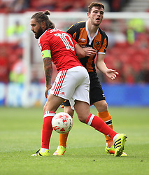 Henri Lansbury of Nottingham Forest (L) and Andrew Robertson of Hull City in action - Mandatory by-line: Jack Phillips/JMP - 30/07/2016 - FOOTBALL - The City Ground - Nottingham, England - Nottingham Forest v Hull City - Pre-Season Friendly
