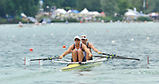 Lucerne SWITZERLAND,  GBR W2X Bow Anna WATKINS and Katherine GRAINGER, at the start for their  afternoons Semi final at the 2011 FISA World Cup on the Lake Rotsee. Saturday   09/07/2011   [Mandatory Credit Peter Spurrier/ Intersport Images]