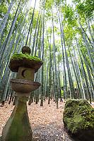 "Stone Lantern at Hokoku-ji Bamboo Garden - Hokoku-ji Kamakura is world famous for its bamboo garden containing more than 2000 Moso bamboos trees. Its nickname is Take-dera ""Bamboo Temple"" for that reason.  The bamboo garden is punctuated with stone lanterns, jizo and moss covered stones.  Besides the popular bamboo garden, and teahouse, Hokokuji also has a often overlooked Zen garden   Ashikaga Ietoki, ordered Zen priest Tengan Eko to establish Hokoku-ji. This temple became the family temple of the Ashikaga clan. Tengan was a disciple of Mugaku Sogen a contemporary of famous garden designer Muso Kokushi."