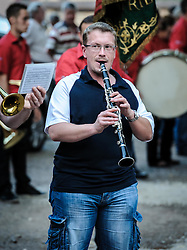 Bastille day celebrations in Neuwiller-les-Saverne, Alsace France.  The local band are joined by members of the Pompiers.<br /> <br /> (c) Andrew Wilson | Edinburgh Elite media