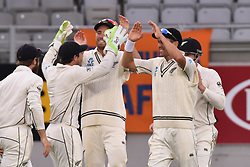 March 26, 2018 - Auckland, Auckland, New Zealand - Blackcaps celebrate taking wicket of Ben Stokes of England during Day Five of the First Test match between New Zealand and England at Eden Park in Auckland on Mar 26, 2018. (Credit Image: © Shirley Kwok/Pacific Press via ZUMA Wire)