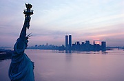 The Statue of Liberty located on Liberty Island in New York Harbor.  A gift from France, it has become a symbol of democracy and freedom.