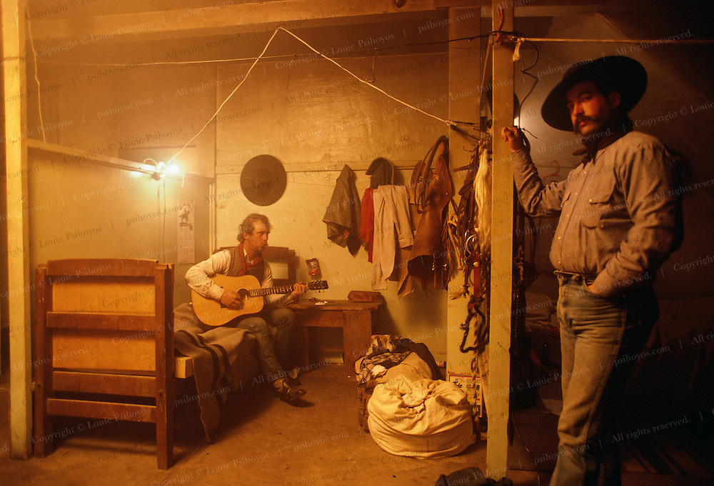 Cowboys in the bunkhouse at the Spanish Ranch in Wyoming.