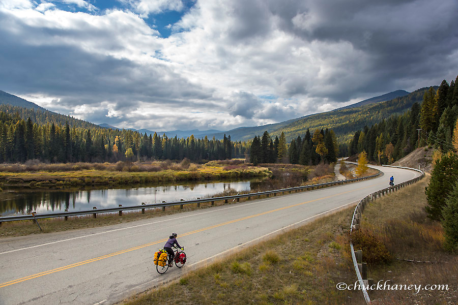 Bike touring along the Yaak River in the Kootenai National Forest, Montana, USA model released