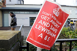 © Licensed to London News Pictures. 15/01/2013. Health Secretary Jeremy Hunt, will make his decision about the future of Lewisham Hospitals A&E at the start of February 2013. .A community campaign to Save Lewisham Hospital and fight the proposed closure of Lewisham Hospital A&E, Intensive Care and some children and maternity services continues with a demonstration on Saturday 26th January..Photo credit : Grant Falvey/LNP