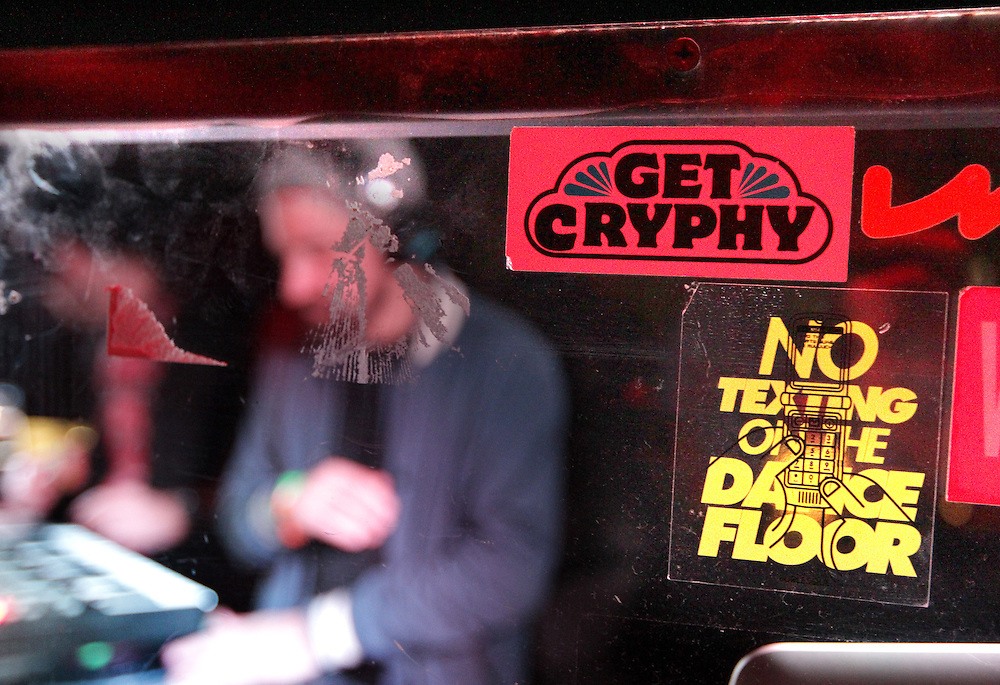 Jimmy 2 Times, Last Word and Plain Ole Bill deejay together at the Get Cryphy dance night in the Record Room at First Avenue in Minneapolis.