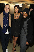 """NEW YORK, NEW YORK-FEBRUARY 13: (L-R) Steven Kolb President of CFDA Council for Fashion Design, Designer Aisha McShaw and Fashion Icon Bethan Hardison attend """" CAPTURED"""" the Fall/Winter Collection 2019 presented by Designer Aisha McShaw during New York Fashion Week and held at the Gallery at Prince George Ballroom on February 11, 2019 in New York City.  (Photo by Terrence Jennings/terrencejennings.com)"""