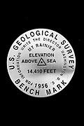 Mount Rainier USGS summit benchmark replica, property of Dale Swanson.
