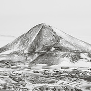 McMurdo and Observation Hill after snowfall from Hut Point Ridge Loop Trail