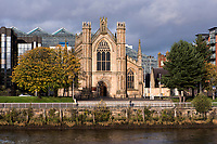 Autumn sunshine on the cathedral on the Broomielaw, by the River Clyde, in Glasgow