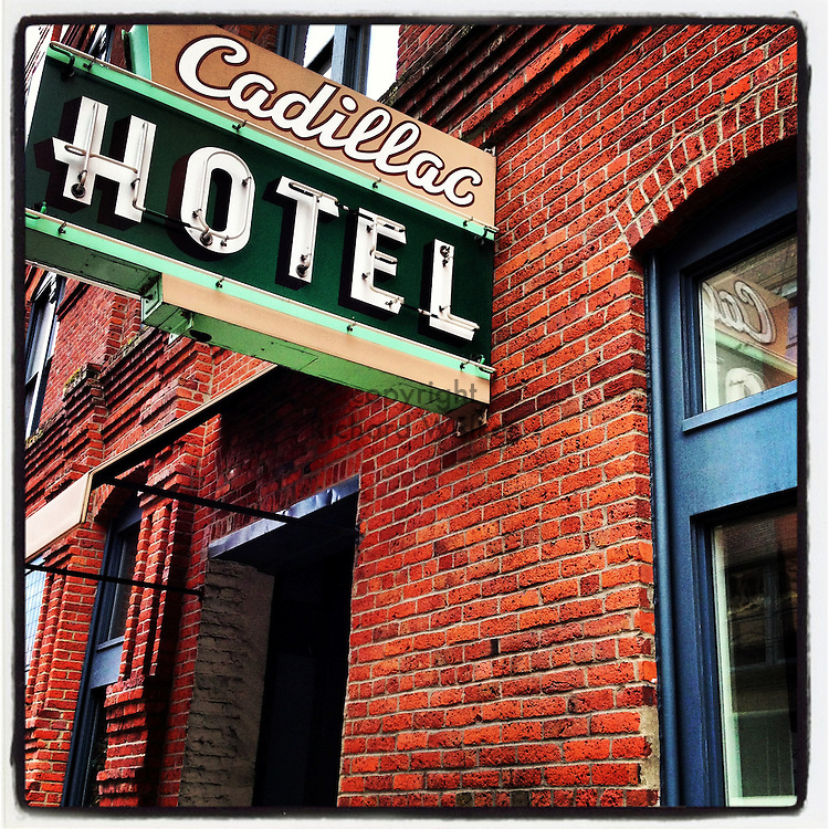 2013 March 03 - Exterior of Cadillac Hotel, Pioneer Square, Seattle, WA, USA. Taken/edited with Instagram App for iPhone. By Richard Walker