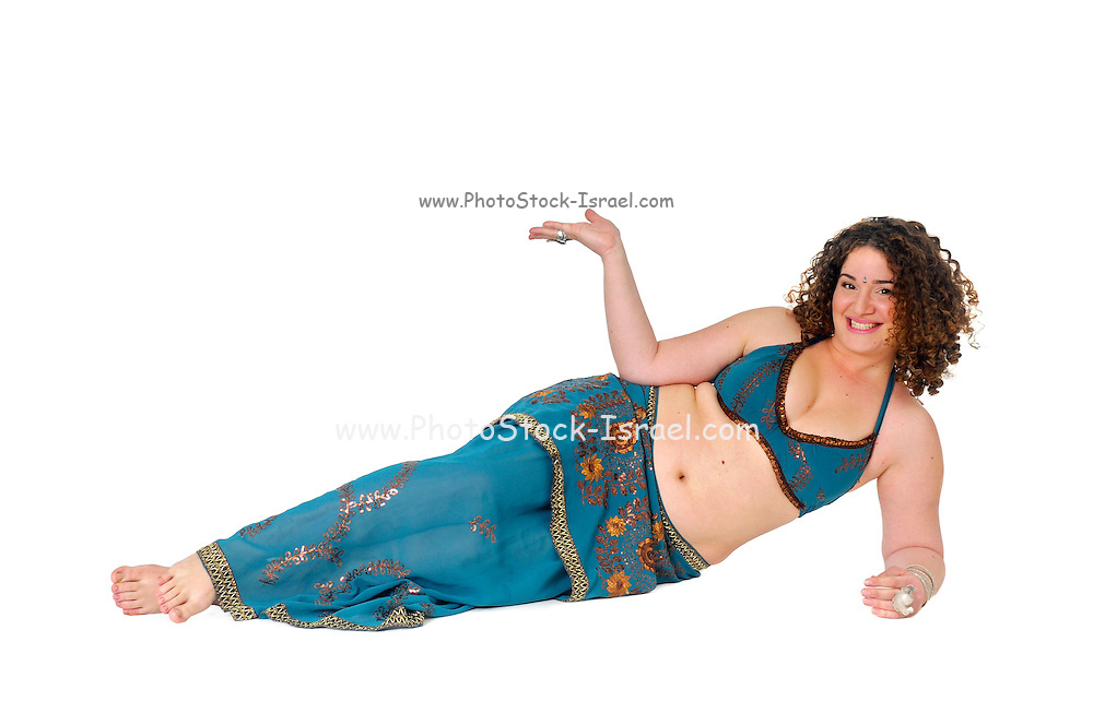 reclining Egyptian style Belly dancer hands stretched out to offer something On white Background