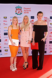 LIVERPOOL, ENGLAND - Thursday, May 10, 2018: Liverpool FC Ladies' Bethany England, Alex Greenwood and goalkeeper Siobhan Chamberlain arrive on the red carpet for the Liverpool FC Players' Awards 2018 at Anfield. (Pic by David Rawcliffe/Propaganda)
