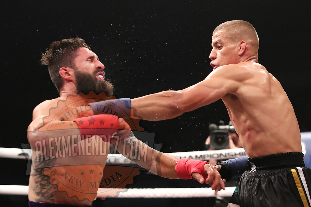 TAMPA, FL - JUNE 22: Abdiel Velazquez punches Travis Thompson during the Bare Knuckle Fighting Championships at Florida State Fairgrounds Entertainment Hall on June 22, 2019 in Tampa, Florida. (Photo by Alex Menendez/Getty Images) *** Local Caption *** Abdiel Velazquez; Travis Thompson