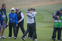 Sweden's team of Cajsa Parsson and Linda Wessberg celebrate in their semi final match with Great Britain this morning during day eleven of the 2018 European Championships at Gleneagles PGA Centenary Course.