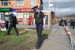 ©Licensed to London News Pictures 08/03/2020<br /> Sevenoaks, UK. Police search the scene where a body was found in the Bat and Ball area of Sevenoaks in Kent, Police are standing guard while a number of forensic officers work at the scene.  Photo credit: Grant Falvey/LNP