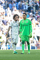 Real Madrid's Marcelo and Keylor Navas during La Liga match between Real Madrid and Atletico de Madrid at Santiago Bernabeu Stadium in Madrid, April 08, 2017. Spain.<br /> (ALTERPHOTOS/BorjaB.Hojas)