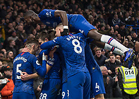 Football - 2019 / 2020 Premier League - Chelsea vs. Arsenal<br /> <br /> Chelsea palyers celebrate after they take the lead at Stamford Bridge <br /> <br /> COLORSPORT/DANIEL BEARHAM
