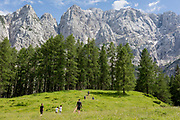 Visitors walk a trail beneath Prisank (2547m) a mountain view near the top of Vrsic Pass in the Slovenian Julian Alps, on 22nd June 2018, in Triglav National Park, Slovenia.
