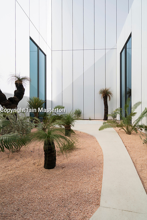 View of outdoor Australian garden at new Jameel Arts Centre in Dubai, UAE, United Arab Emirates