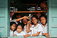 Happiness of young pupils in Oudong, Cambodia, Southeast Asia